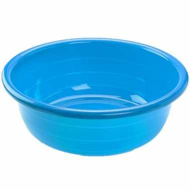 Set van 2x stuks grote kunststof teiltje/afwasbak rond 30 liter blauw