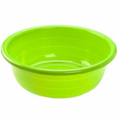 Set van 2x stuks grote kunststof teiltje/afwasbak rond 30 liter groen
