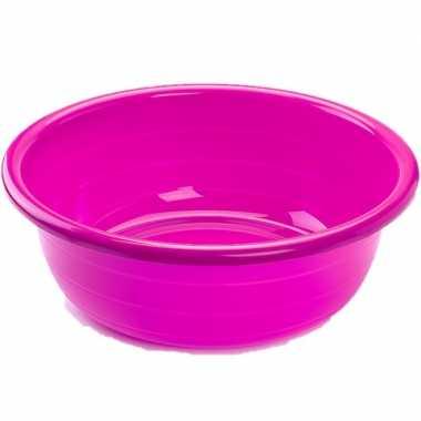 Set van 2x stuks grote kunststof teiltje/afwasbak rond 30 liter roze