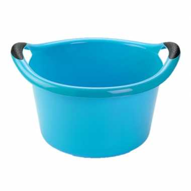 Set van 2x stuks grote kunststof teiltje/afwasbak rond met handvatten 15 liter blauw