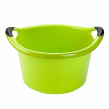 Set van 2x stuks grote kunststof teiltje/afwasbak rond met handvatten 15 liter groen
