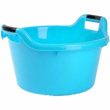 Set van 2x stuks grote kunststof teiltje/afwasbak rond met handvatten 17 liter blauw