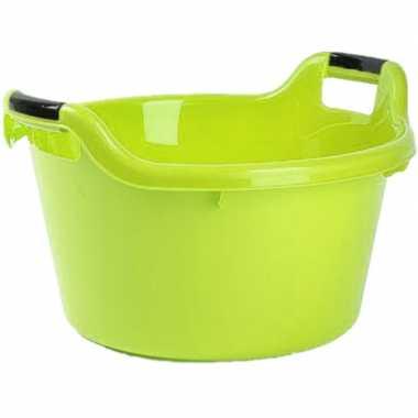 Set van 2x stuks grote kunststof teiltje/afwasbak rond met handvatten 17 liter groen