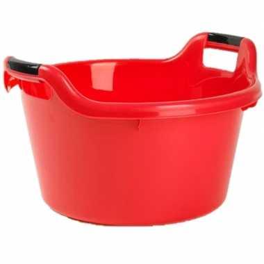 Set van 2x stuks grote kunststof teiltje/afwasbak rond met handvatten 17 liter rood