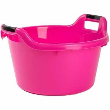 Set van 2x stuks grote kunststof teiltje/afwasbak rond met handvatten 17 liter roze