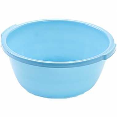 Set van 2x stuks kunststof teiltje/afwasbak rond 10 liter blauw