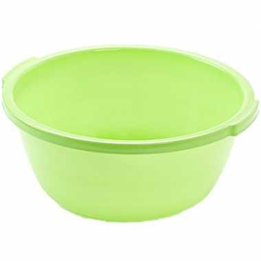 Set van 2x stuks kunststof teiltje/afwasbak rond 10 liter groen