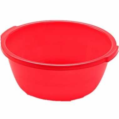 Set van 2x stuks kunststof teiltje/afwasbak rond 10 liter rood