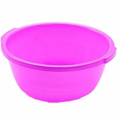 Set van 2x stuks kunststof teiltje/afwasbak rond 10 liter roze