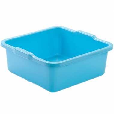 Set van 2x stuks kunststof teiltje/afwasbak vierkant 11 liter blauw