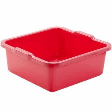 Set van 2x stuks kunststof teiltje/afwasbak vierkant 11 liter rood