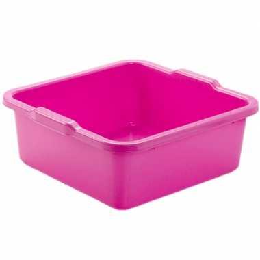 Set van 2x stuks kunststof teiltje/afwasbak vierkant 11 liter roze
