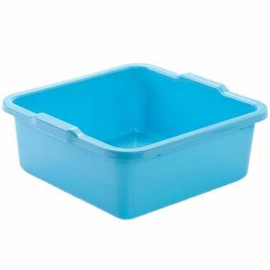 Set van 2x stuks kunststof teiltje/afwasbak vierkant 8 liter blauw