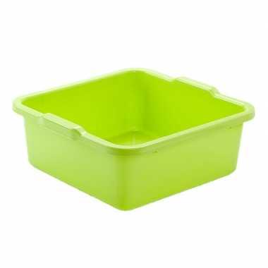 Set van 2x stuks kunststof teiltje/afwasbak vierkant 8 liter groen
