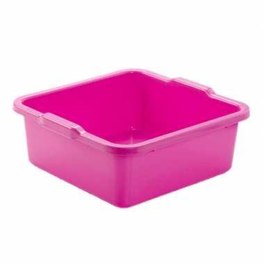 Set van 2x stuks kunststof teiltje/afwasbak vierkant 8 liter roze