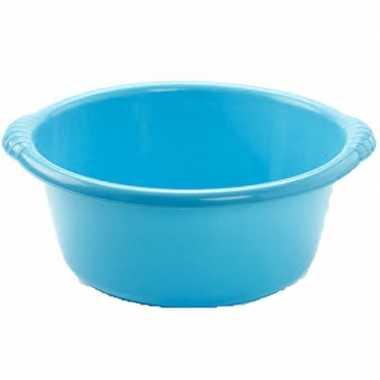 Set van 2x stuks kunststof teiltjes/afwasbakken rond 6 liter blauw