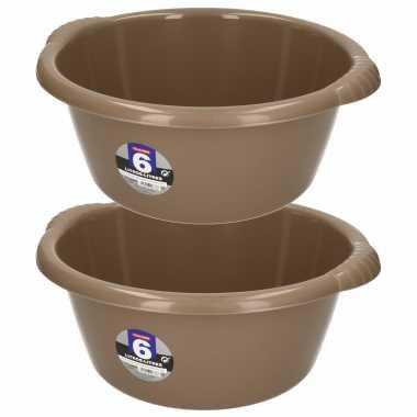 Set van 2x stuks kunststof teiltjes/afwasbakken rond 6 liter bruin