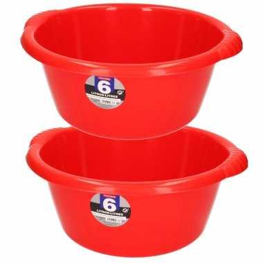 Set van 2x stuks kunststof teiltjes/afwasbakken rond 6 liter rood