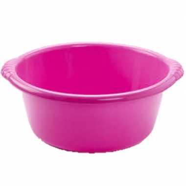 Set van 2x stuks kunststof teiltjes/afwasbakken rond 6 liter roze