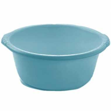 Set van 2x stuks kunststof teiltjes/afwasbakken rond 6 liter turquoise