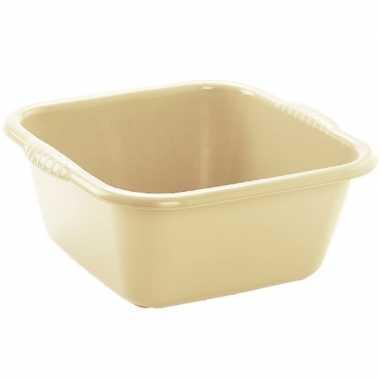 Set van 2x stuks kunststof teiltjes/afwasbakken vierkant 6 liter beige