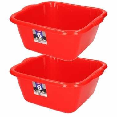 Set van 2x stuks kunststof teiltjes/afwasbakken vierkant 6 liter rood