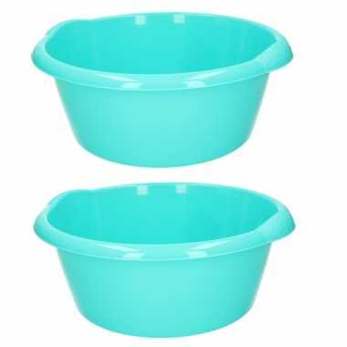 Set van 2x stuks ronde afwasteil/afwasbak turquoise groen 15 liter 42 x 17 cm