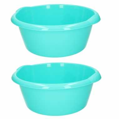 Set van 2x stuks ronde afwasteil/afwasbak turquoise groen 3 liter 25 x 10,5 cm
