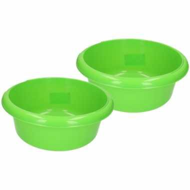 Set van 2x stuks ronde afwasteiltjes / afwasbakken groen 6,2 liter