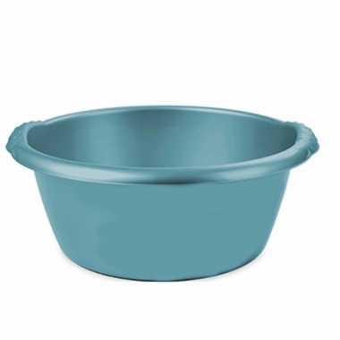 Turquoise blauwe afwasbak/afwasteil rond 15 liter 42 cm