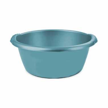 Turquoise blauwe afwasbak/afwasteil rond 6 liter 32 cm