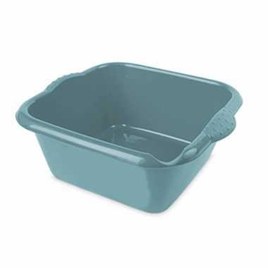 Turquoise blauwe afwasbak/afwasteil vierkant 6 liter 32 cm