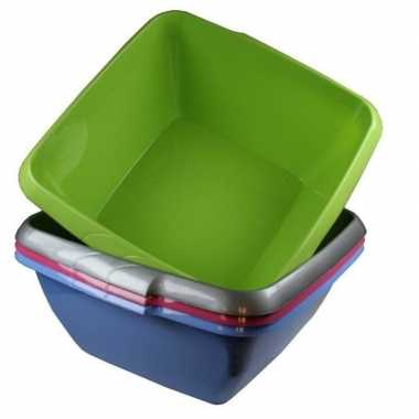 Vierkant afwasteiltje / afwasbak groen 8 liter