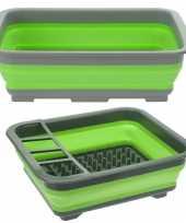 Camping set opvouwbaar afwasteiltje en afdruiprek groen 10 liter rechthoekig